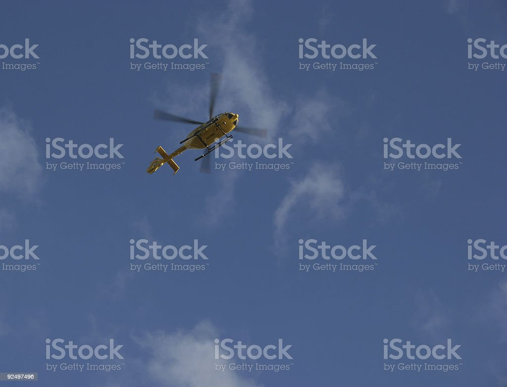 Yellow helicopter royalty-free stock photo
