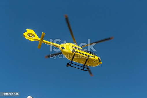 istock Yellow helicopter used for rescue operations, Medical rescue helicopter flying rescue injured climber on the Tre Cime. Italy, Dolomites 838215794