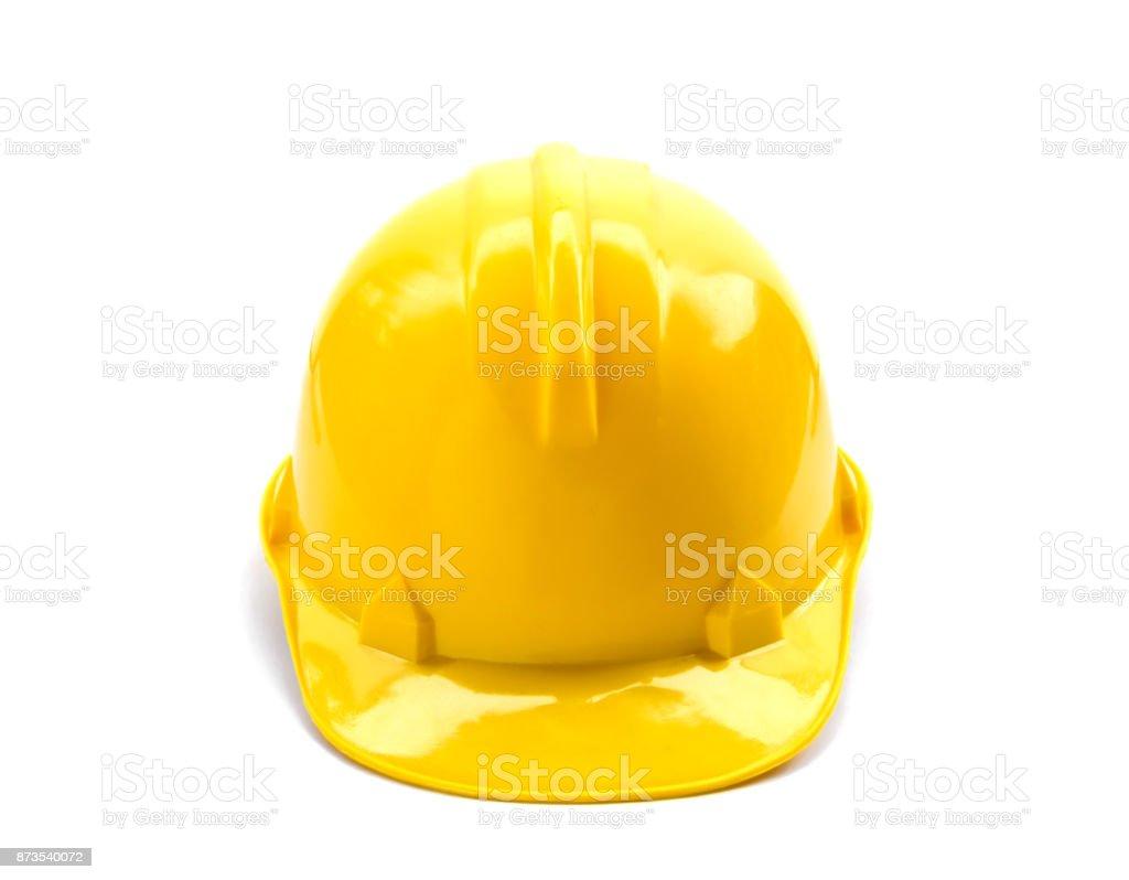 yellow helmet isolate stock photo