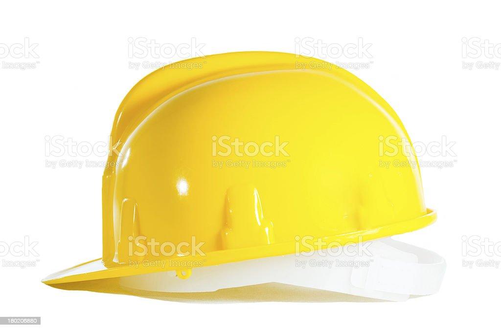 Yellow helmet isolated on white royalty-free stock photo