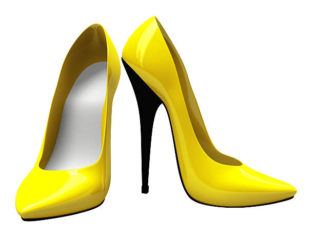 3D Yellow High Heels Shoes stock photo
