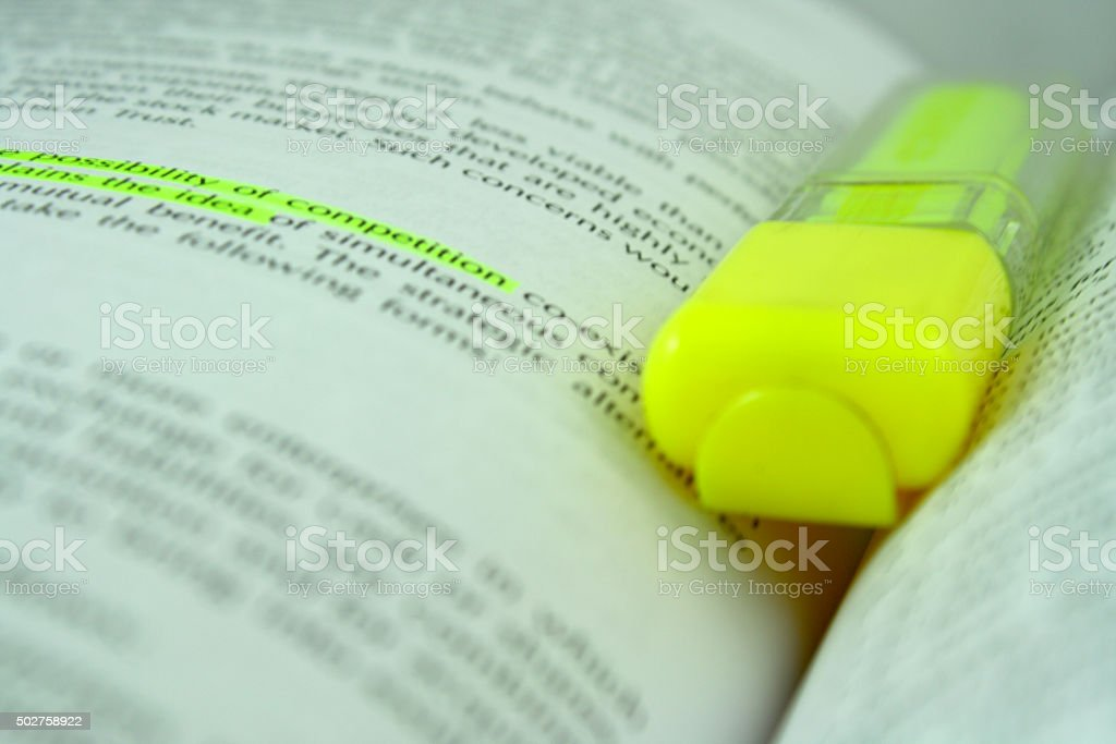 Yellow highlighter and text stock photo