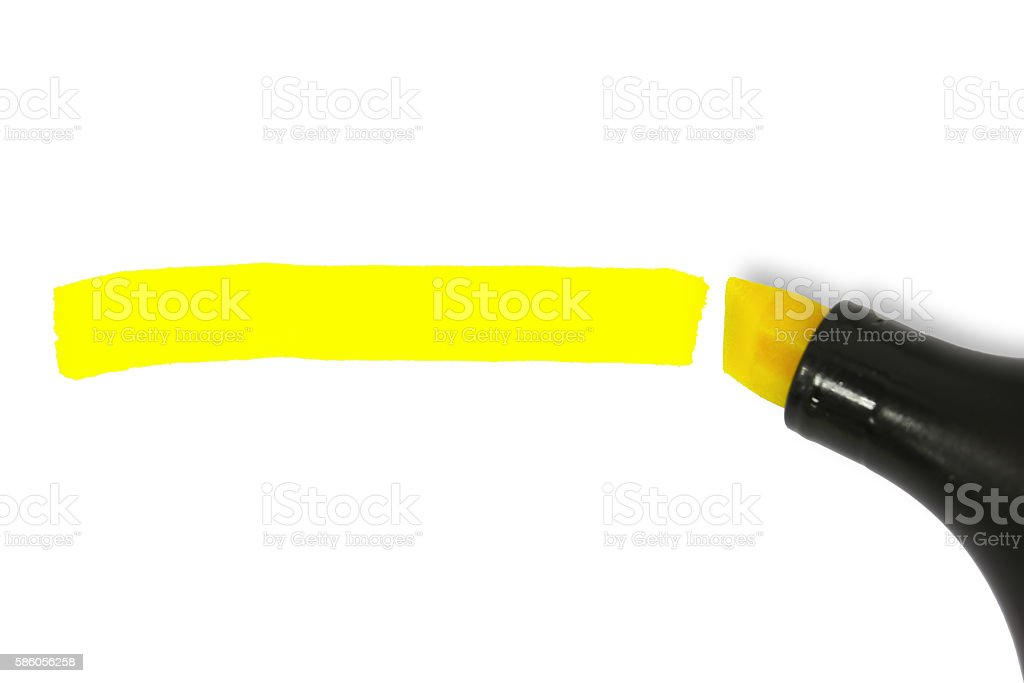 Yellow highlighter line stock photo