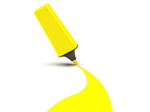 3D Yellow Highlighter Pen stock photo