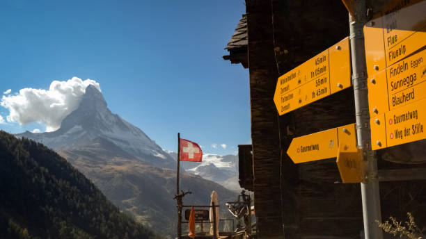 Yellow hiking guides and the Matterhorn near Zermatt (Switzerland) When taking the funicular from Zermatt to Sunnegga and hiking back to Zermatt (Valais, Switzerland) you'll pas many yellow hiking guides and one can experience gorgeous views on the Matterhorn, the most famous mountain of Switzerland zermatt stock pictures, royalty-free photos & images
