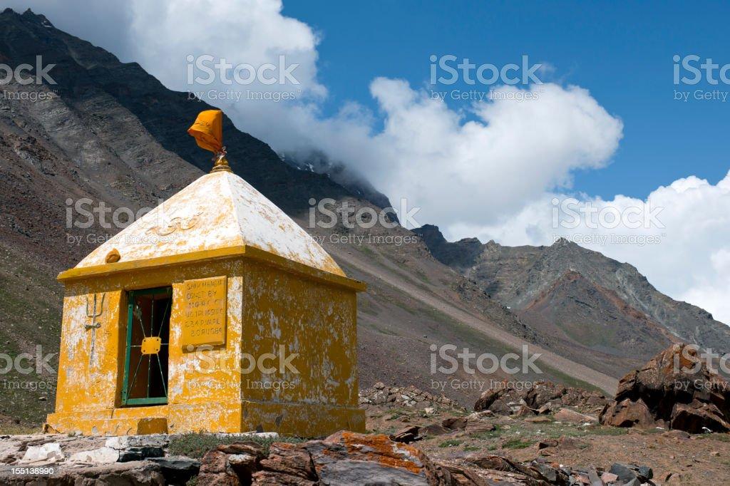 Yellow Hindu Shrine in Indian Himalaya royalty-free stock photo
