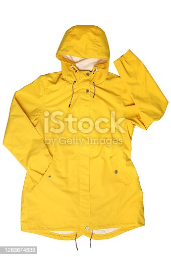 Yellow hooded raincoat on  isolated on white background