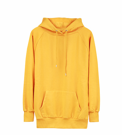 Yellow hoodie isolated on white,male hoodied sweater,sport jumper.