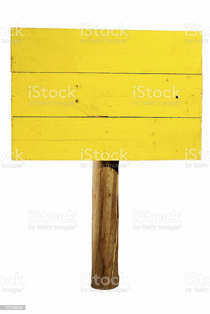 Yellow horizontal wooden sign on wood post isolated stock photo