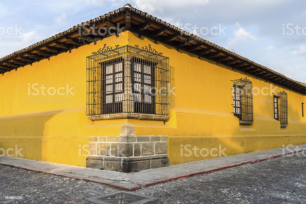 Yellow House Corner stock photo