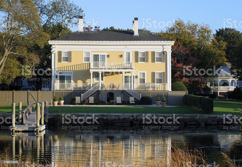 yellow house in Plymouth royalty-free stock photo