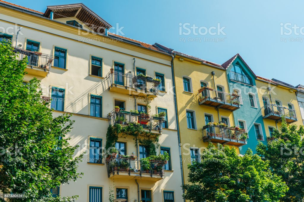 yellow houses with german architecture stock photo