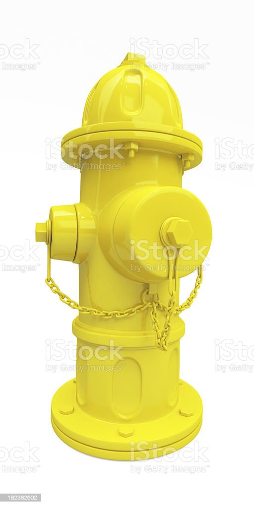 3D Yellow  Hydrant Full 3D of Yellow Fire Hydrant isolated on white background Accidents and Disasters Stock Photo