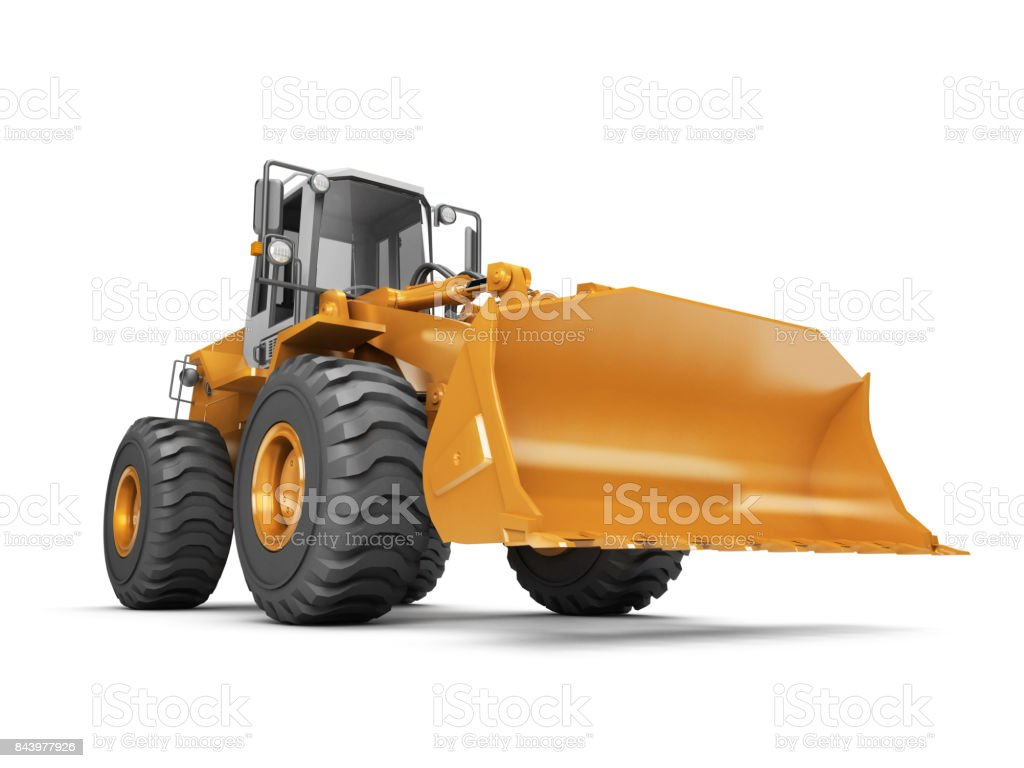 Yellow hydraulic loader isolated on white background. 3D illustration. wide angle. front side view stock photo