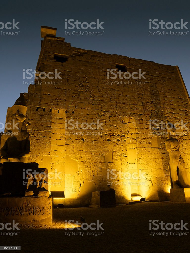 yellow illuminated Luxor Temple detail royalty-free stock photo