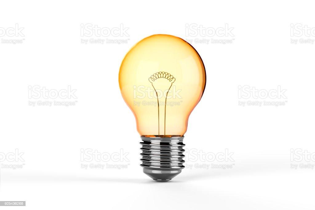 Yellow Incandescent Light Bulb - isolated stock photo