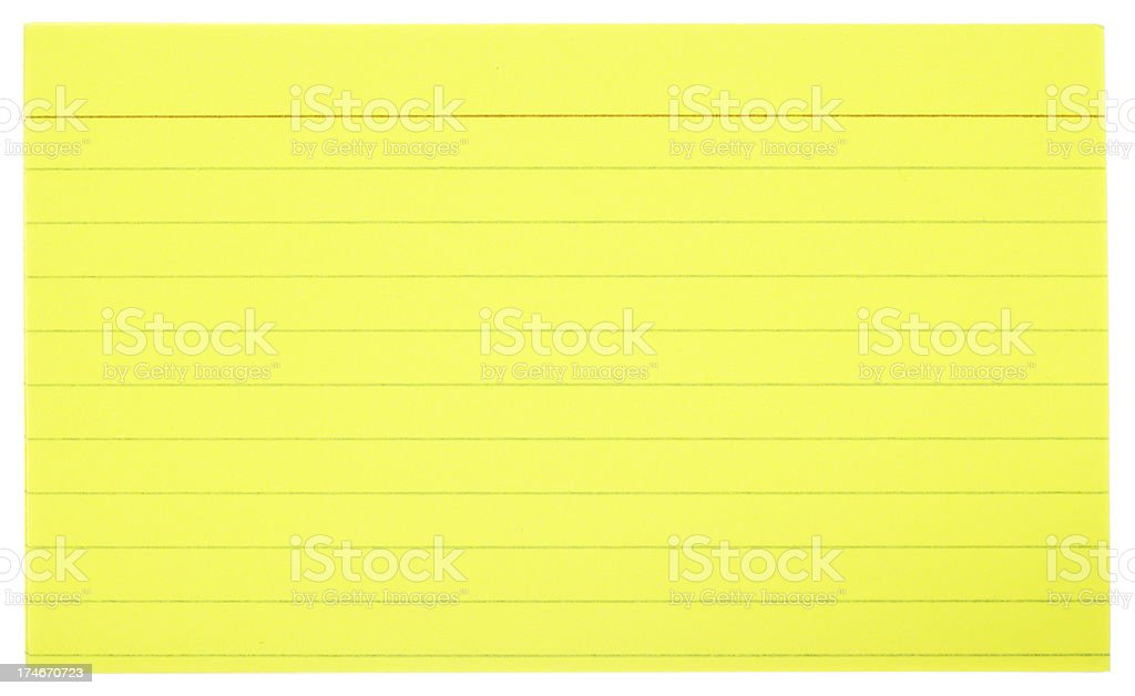 Yellow Index Cards royalty-free stock photo