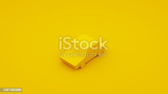 1087080996 istock photo Yellow, isometric low poly car. 3D illustration 1087080996