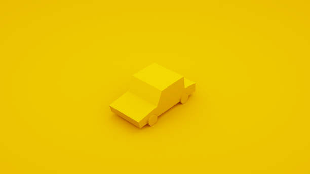 yellow, isometric low poly car. 3d illustration - under construction icon foto e immagini stock