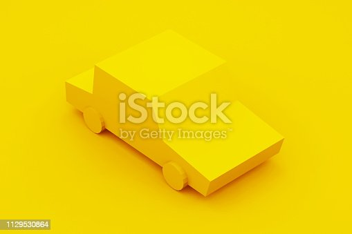 1087080996 istock photo Yellow, isometric low poly car. 3D illustration 1129530864