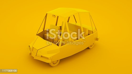 1087080996 istock photo Yellow, isometric low poly cartoon car. 3D illustration 1177305100