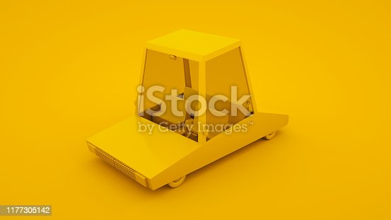 1087080996 istock photo Yellow, isometric low poly cartoon car. 3D illustration 1177305142