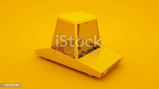 1087080996 istock photo Yellow, isometric low poly cartoon car. 3D illustration 1184032491
