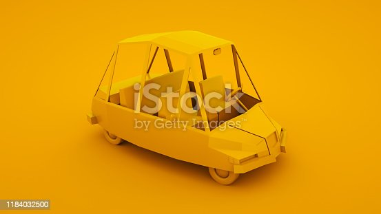 1087080996 istock photo Yellow, isometric low poly cartoon car. 3D illustration 1184032500
