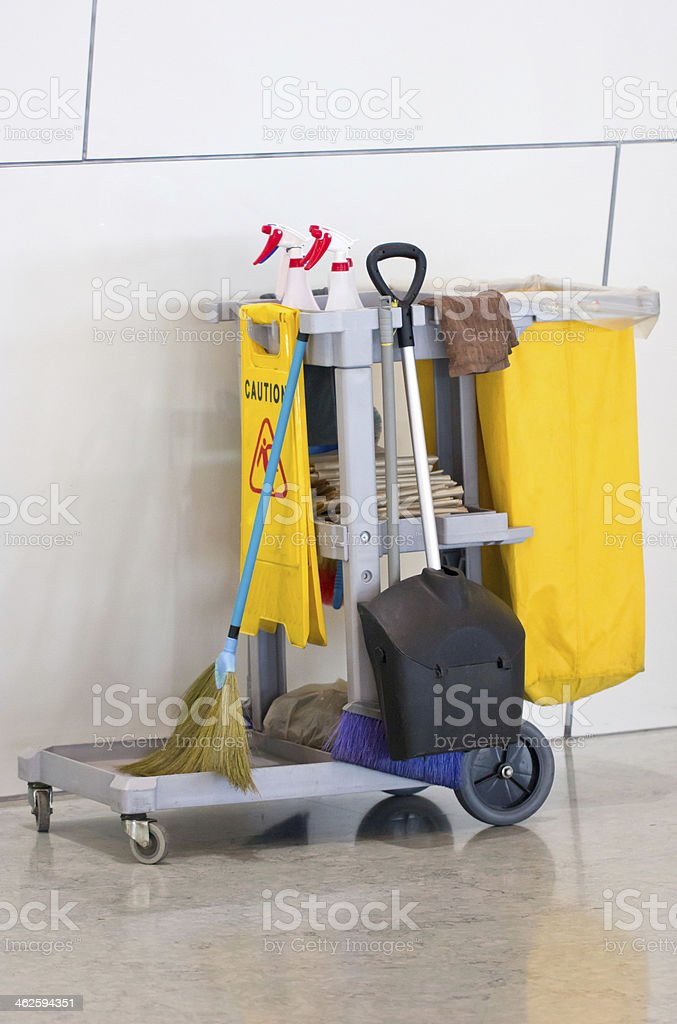 Yellow Janitor Cart. stock photo