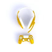 istock Yellow joystick with yellow headphones on white table background, Computer game competition, Gaming concept, 3D rendering 984819204