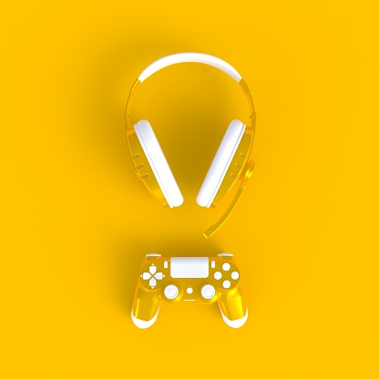 istock Yellow joystick with yellow headphones on yellow table background, Computer game competition, Gaming concept, 3D rendering 1006488312