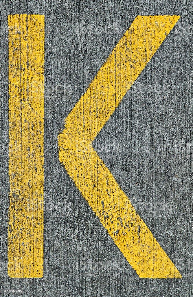 Yellow K royalty-free stock photo