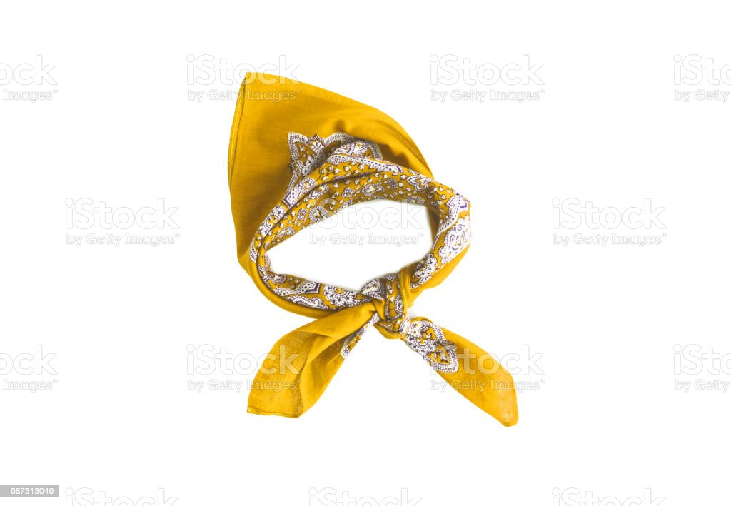 Yellow kerchief-bandana with a pattern, isolated stock photo