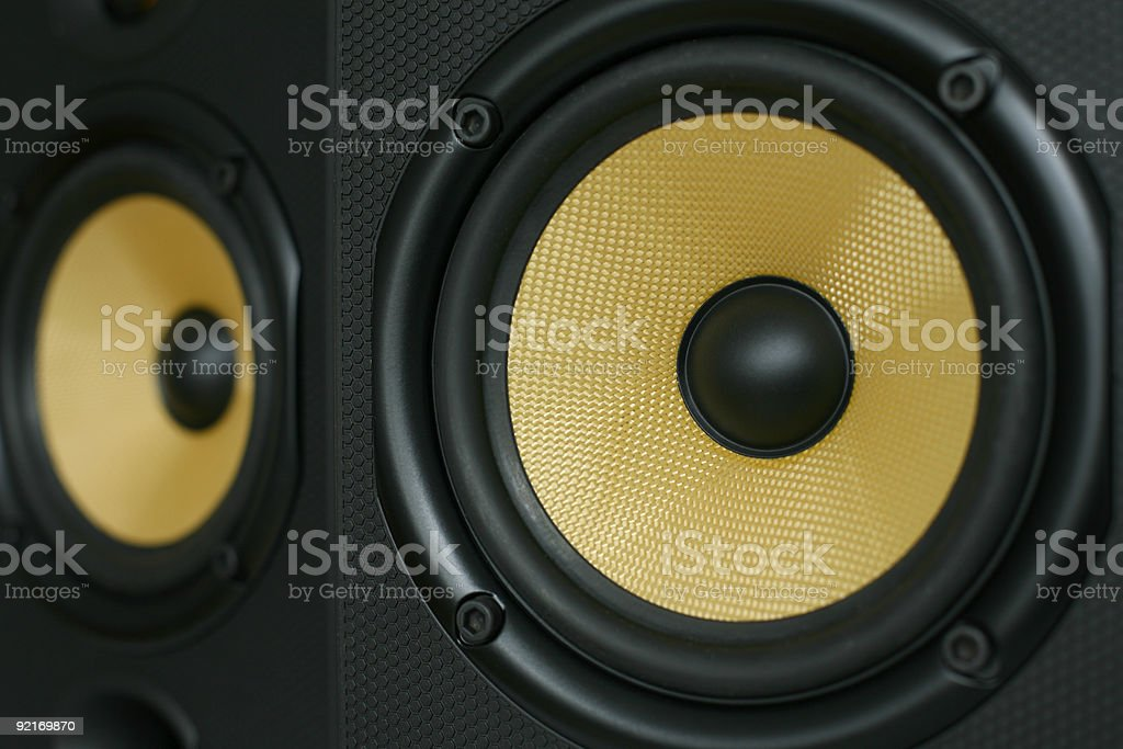 Yellow Kevlar Woofer Speakers royalty-free stock photo