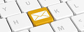 istock Yellow key button with envelope on a computer keyboard, banner. 3d illustration 1135177361