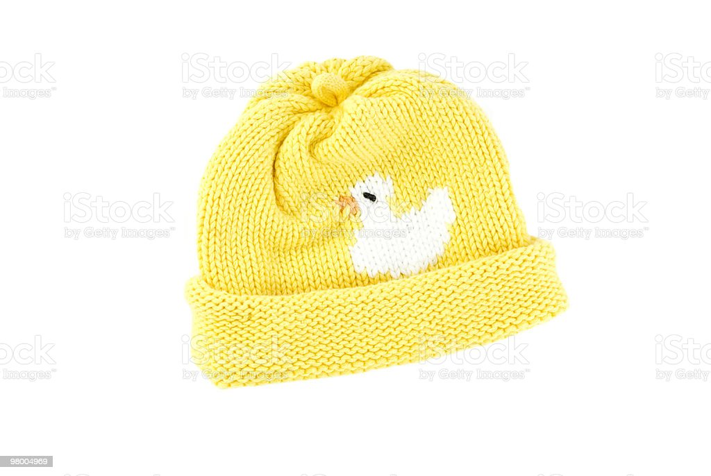 Yellow Knit Baby Hat royalty-free stock photo
