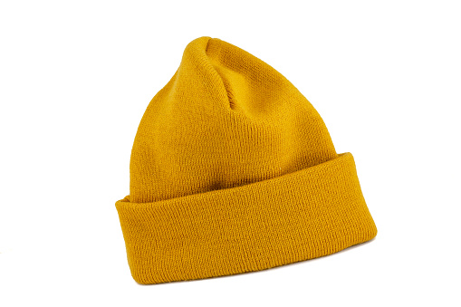 Yellow - Mustard color mercerized skull cap isolated on white background.