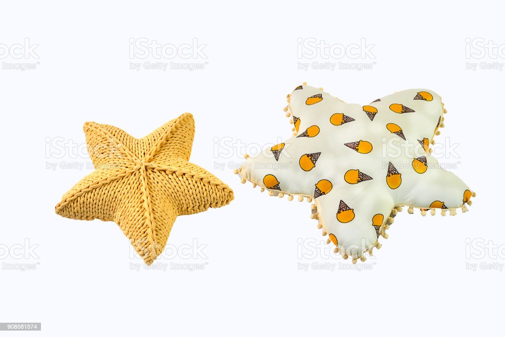 Yellow Knitted Fivepointed Star Shaped Pillow And Heart Shaped