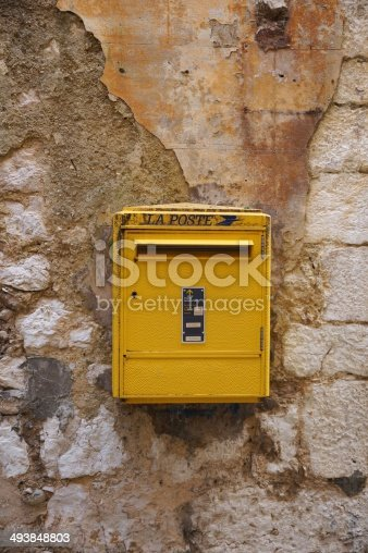 istock Yellow La Poste Mailbox in France 493848803