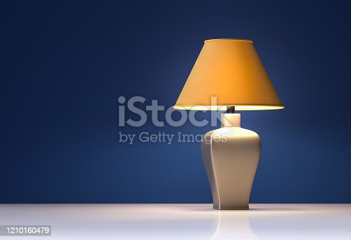 Yellow lamp on blue background - interior - 3d rendering