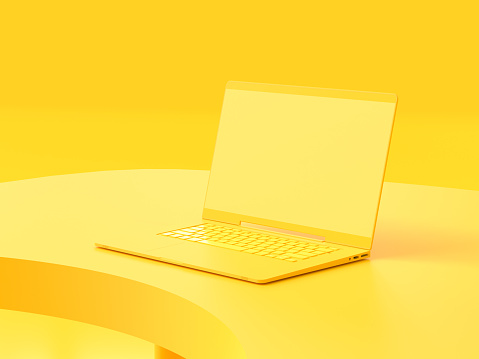 istock Yellow laptop  mock-up on Work desk with yellow background. 1150630286