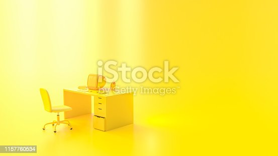 istock Yellow laptop mock-up on Work desk with yellow background. 1157760534