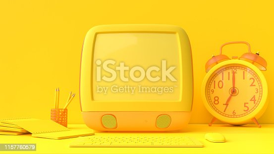 istock Yellow laptop mock-up on Work desk with yellow background. 1157760579