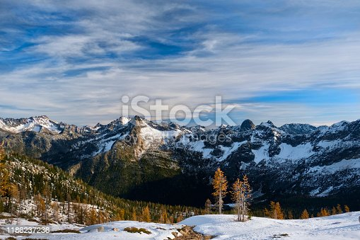 Early winter in North Cascades National Park in Washington state. Pacific Northwest. West coast. Seattle. WA. United States of America.