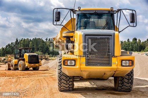 Yellow large dump truck