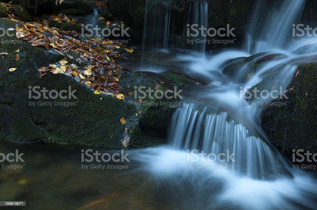 Yellow Leaves line waterfall - Gatlinburg, Tennessee stock photo