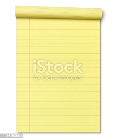 Rolled Up Yellow Lined Note Pad isolated on white background