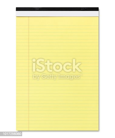 Yellow Legal Pad isolated on white (excluding the shadow)