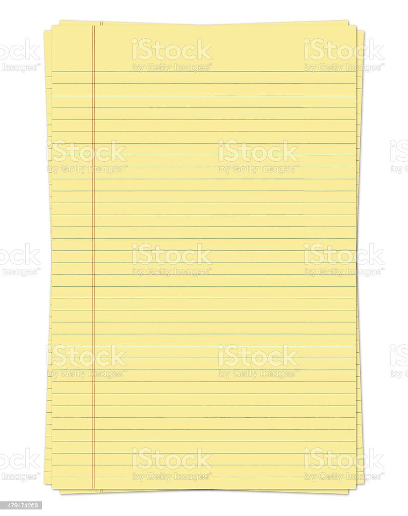 Yellow Legal Papers (with path) stock photo