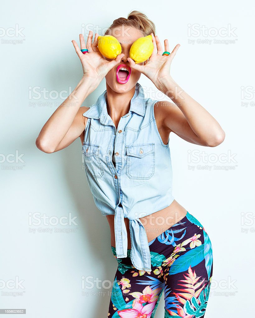 Yellow lemon eyes stock photo